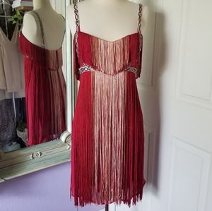 Free People Flapping My Fringe Red Flapper Dress